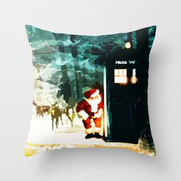 Tardis Santa In The Forest Throw Pillow