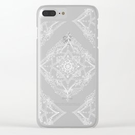 Mandala Doodle Pattern in Black & White Clear iPhone Case