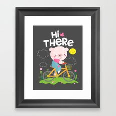 Pig on a bike Framed Art Print