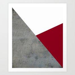 Concrete Burgundy Red White Art Print