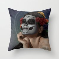 skulls Throw Pillows featuring Skulls by Joifish