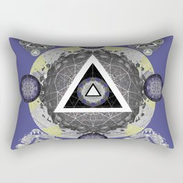 Eye of Source Painted Sacred Geometry Mandala Moss Green Rectangular Pillow