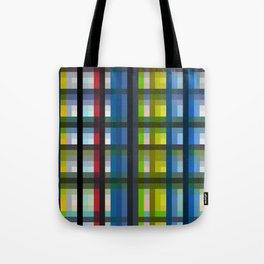 colorful striking retro grid pattern Nis Tote Bag