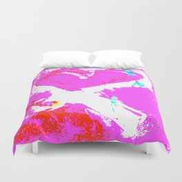 Pink Graffiti Ribbon for Breast Cancer Research by Jeffrey G. Rosenberg Duvet Cover
