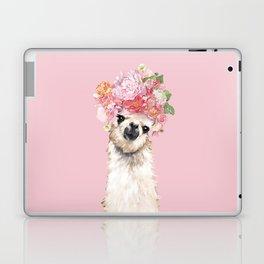 Llama with Flower Crown in Pink Laptop & iPad Skin