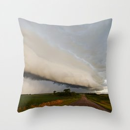 Shelf Cloud Over Country Road 2 Throw Pillow