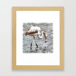 Knee Deep Flamingo Watercolor Framed Art Print