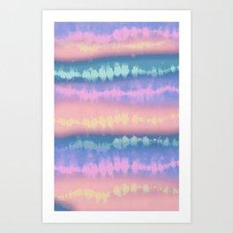 Pastel tie dye stripe Art Print