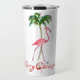 Merry Christmas Pink Flamingo Beach Xmas Travel Mug