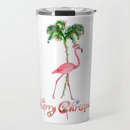 Merry Christmas Pink Flamingo Beach Xmas Travel Mug