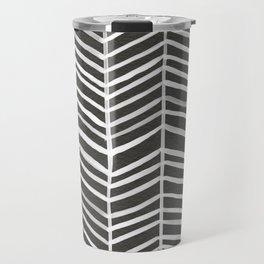 Herringbone – Black & White Travel Mug