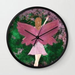 Pink Fairy & Cherry Blossom Tree Wall Clock