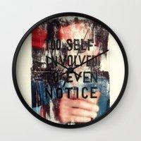 jojo Wall Clocks featuring TOO SELF INVOLVED by Brandon Neher
