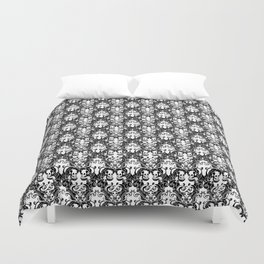 Skull & Tentacle Damask BW Duvet Cover