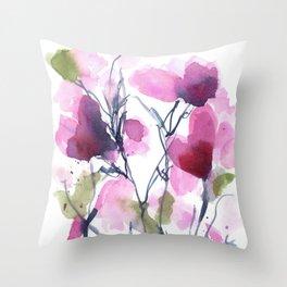 Pink Heart Petals Throw Pillow