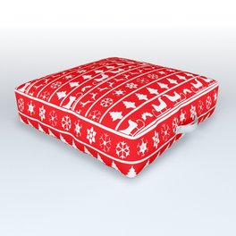 Red & White Ugly Sweater Nordic Christmas Knit Pattern Outdoor Floor Cushion