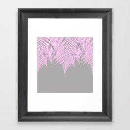 Fern Pink on Grey Framed Art Print