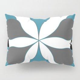 Mid-Century Modern Art 1.4B Grey Aqua Flower Pillow Sham