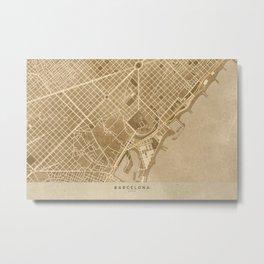 Vintage map of Barcelona in sepia Metal Print