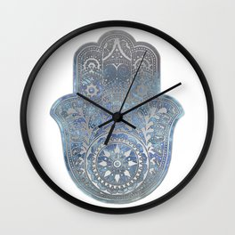 Silver Blues Hamsa Hand Wall Clock