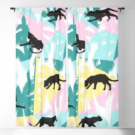 Black panthers modern tropical geometric background Blackout Curtain