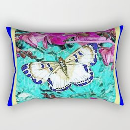 MODERN  PURPLE ORCHIDS & BLUE BUTTERFLY TURQUOISE Rectangular Pillow