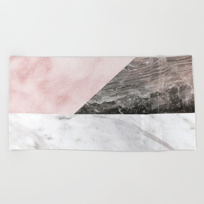 Smokey marble blend - pink and grey stone Beach Towel