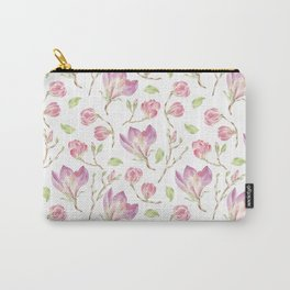 Pink lilac watercolor hand painted magnolia pattern Carry-All Pouch