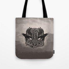 Mjolnir The hammer of Thor and ravens Tote Bag