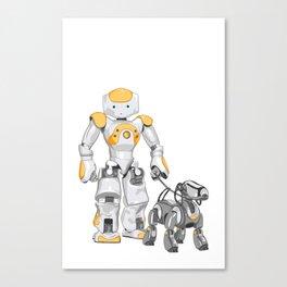 The Dog Walker. (Orange) Canvas Print