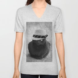 Cat with hat Unisex V-Neck