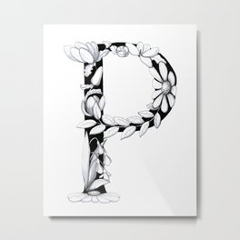 Floral Pen and Ink Letter P Metal Print