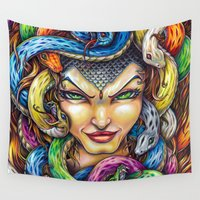 medusa Wall Tapestries featuring Medusa by Bryan Collins