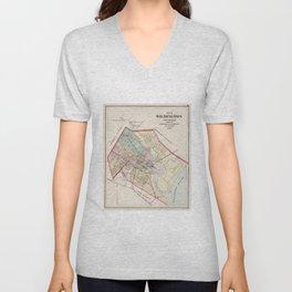 Vintage Map of Wilmington Delaware (1884) Unisex V-Neck