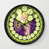 tinker bell Wall Clocks featuring Tinker Bell by NicoleGrahamART