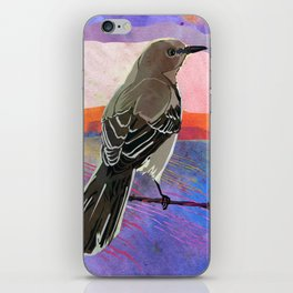 Mockingbird on a Wire Fence In The Sunset Watercolor Art iPhone Skin