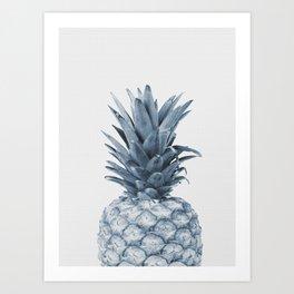 Pineapple, Fruit, Tropical, Light Blue Art Print