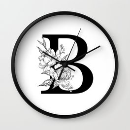 B botanical monogram. Letter initial with peonies Wall Clock