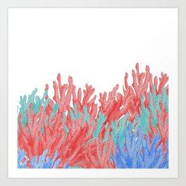 Modern nautical coral blue teal floral reef Art Print
