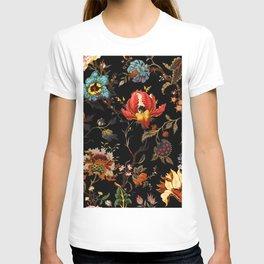 Midnight Red Blue Gold Flower T-shirt