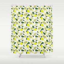 Mediterranean Summer Lemons and Green Leaves Pattern Shower Curtain