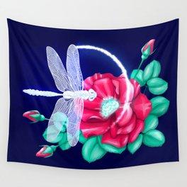 Full bloom | Dragonfly loves roses Wall Tapestry