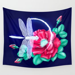 Full bloom   Dragonfly loves roses Wall Tapestry