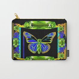 Lime Greenish Peridots Gems Jeweled Butterfly Design Carry-All Pouch