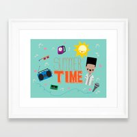 old school Framed Art Prints featuring OLD SCHOOL!  by Claudia Ramos Designs