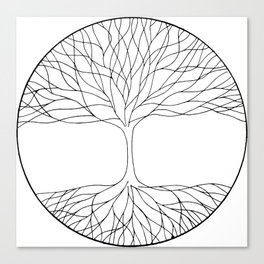black and white minimalist tree of life line drawing Canvas Print