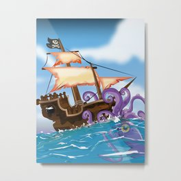 Pirate Ship Attack by Giant Squid Metal Print