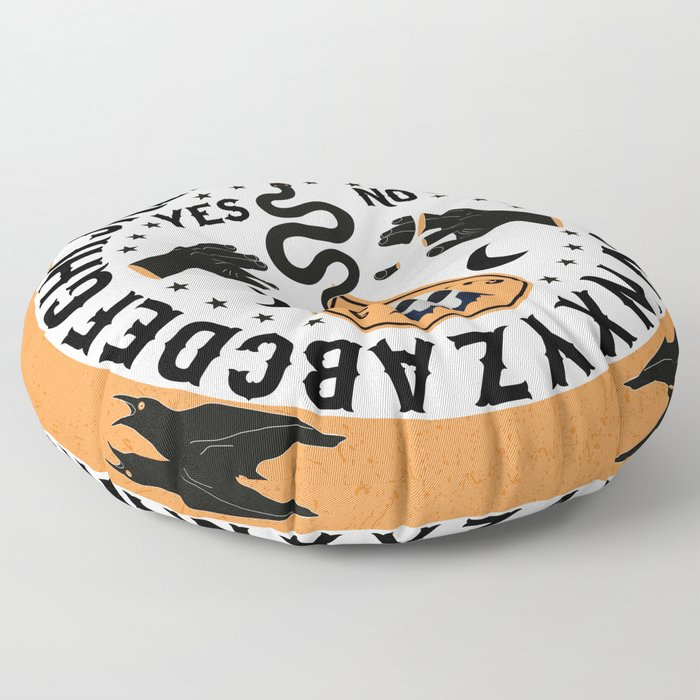 Orange And Black Modern Ouija Board With Ravens Floor Pillow