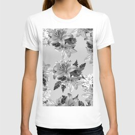GRAY LILY WHITE ROSE FLORAL PATTERN 2020 T-shirt