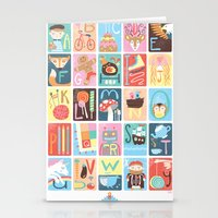 alphabet Stationery Cards featuring Alphabet by Emily Golden
